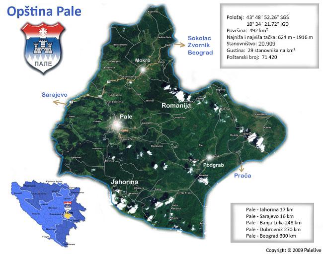 Mapa opštine Pale
