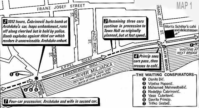 Raspored atentatora duž tadašnje Appel Quay ulice u Sarajevu
