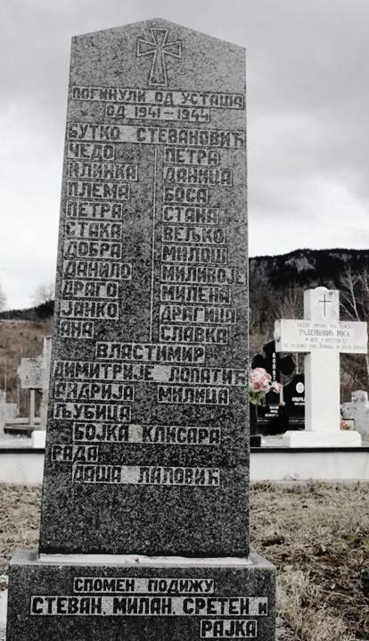 Spomenik stradalim Stevanovićima na groblju Miljevo brdo u Jelovcima