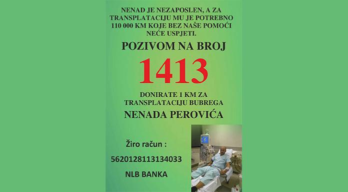 Nenadu Peroviću potrebno 110.000 KM za transplantaciju bubrega