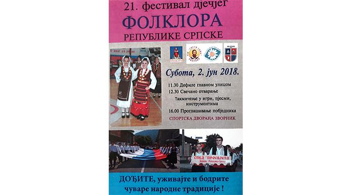 U subotu Festival dječijeg folklora Srpske
